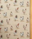Hens and chickens fabric UK 80% Cotton 20% Poly material upholstered feel - Price Per Metre